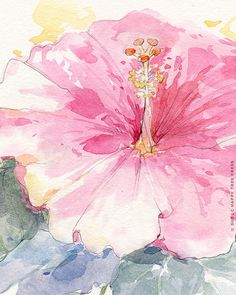 Pink Hibiscus Watercolor Painting Print 8x10 by HappyTreePress, $18.00