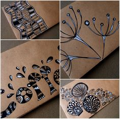 Doodled Envelopes 2 via Blue Birdie This reminds me of you cousin: just cuz I thought of you and what you do, this is a perfect photo for you because of the umbel flower like Queen Anne's Lace and the coffee reference. Tangle Doodle, Tangle Art, Doodles Zentangles, Zen Doodle, Zentangle Patterns, Doodle Art, Envelope Art, Envelope Design, Doodle Drawings
