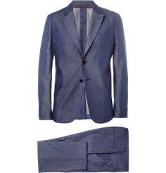 Valentino - Blue Slim-Fit Cotton-Chambray Suit|MR PORTER