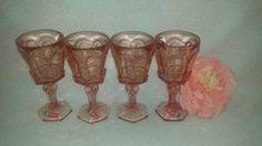 Vintage Peach Fostoria Virginia Wine Glass, Set of 4, Original Box, Fostoria, Peach, Pink Glass, Wine Glasses,  Pink Stemware, Fostoria by JunkYardBlonde on Etsy