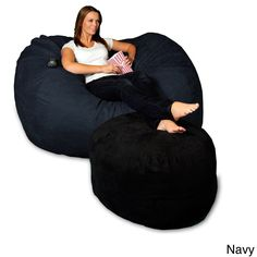 5-foot Memory Foam Micro Suede Beanbag Chair Lounger (Navy Micro Suede), Blue, Size Large