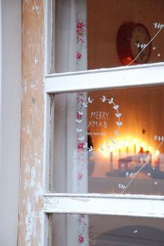 White paint pen on windows for a little, wintry touch.