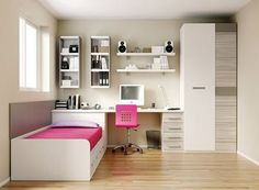 46 Amazing Decoration Ideas For Small Bedroom. A small bedroom can be a big problem, especially when considering how important this space is to your psychological and emotional well . Small Rooms, Small Apartments, Dream Bedroom, Girls Bedroom, Bedrooms, Bedroom Furniture, Bedroom Decor, Bedroom Ideas, Small Room Design