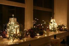 Christmas Lights on Window Ledge