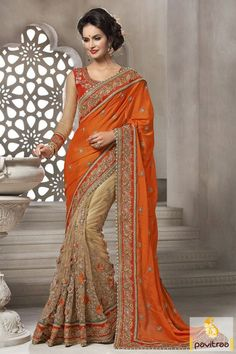 Buy brown orange satin net wedding bridal designer saree online shopping by wholesale supplier Fashion Diffusionz Pvt. Ltd from Surat India fashion store at Pavitraa.in.  #saree, #designersaree, #weddingwearsaree, #partywearsaree, #sareeonline, #sareewithblouse, #Indianbridalsaree, #bridaloutfits More : http://www.pavitraa.in/store/wedding-bridal-saree/ Call / WhatsApp : +91-76982-34040  E-mail: info@pavitraa.in