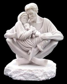 """Jesus, Mary and Joseph portrayed in perfect harmony, love and peace A celebration of the purity of love. Resin Stone (Carrara White) 9.5""""h x 10""""w x 5""""d"""