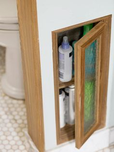 Narrow Escape  Consider hidden storage possibilities whenever you build walls in a bathroom. For example, you can fit ready-made medicine chests between studs near a sink, or create a custom shelf unit to hold all of the tiny bottles and jars used in a bath.