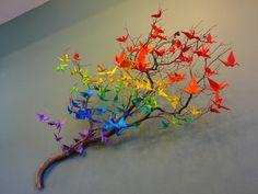 Origami crane branch.