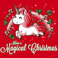 Simply having a magical Christmastime! Get the red Have a Magical Christmas t-shirt only at TeeTurtle! Exclusive graphic designs on super soft cotton tees. Unicorn Puns, Unicorn Art, Christmas Unicorn, Magical Christmas, Christmas Images, Christmas Humor, Christmas Tag, Xmas, Kawaii Drawings