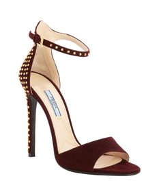 Prada - bordeaux suede gold studded ankle strap open toe high heel pumps at Belle and Clive