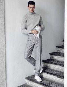 Elegant-sportliches Outfit in grau.