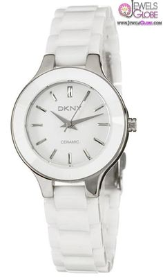 DKNY Women's White Ceramic Mother of Pearl Dial Watch