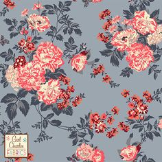 "Coral Peach Floral on Slate Gray Cotton Jersey Blend Knit Fabric - A Girl Charlee Collection Exclusive!  Amazing colors of peach, coral pink, cream, mocha, burgundy flowers and roses on a pretty gray background cotton jersey blend knit.  Fabric has a very smooth hand, good stretch, and is light to mid weight.  Largest rose flower measures 1 1/8"".  A versatile fabric perfect for many uses.  Made in Los Angeles!  ::  $6.60"