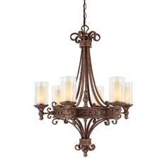 Squire Crusted Umber Six Light Chandelier Capital Lighting Fixture Company Glass Shade Cha Island Lighting, Chandelier Lighting, Chandeliers, Glass Shades, Shabby Chic, Ceiling Lights, Modern, Seeded, Home Decor