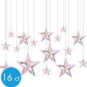 3D Iridescent Star Hanging Decorations 16ct