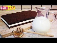 Kinder Fetta al Latte è il contrappunto cioccolatoso della Torta Paradiso. Noi che siamo golosi, vogliamo tirare fuori dal frigo questa gigante delizia perché quelle piccoline da supermercato ci lasciano sempre un senso di insoddisfazione che... NO! NE VOGLIAMO DI PIÙ! Facilissima e velocissima, non potrete più farne a meno! <3 <3 <3 Credit: Giustè… Biscuits Au Cacao, Glass Of Milk, Cooking, Tableware, Sweet, Recipes, Ramadan, Food, Cake Batter Cookies