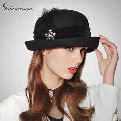 England 100% Australian Wool Fedora Hat Fashion Roll Brim Hat Black Felt Hat Feather Pearl Decoration Top Hat For Women Like it? #shop #beauty #Woman's fashion #Products #Hat