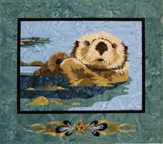 Floating Sea Otter Infant Embroidered Iron On Applique