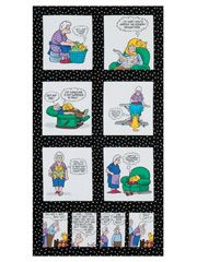 "Cat Woman Pickles Panel - If you love both cats and quilts, this fabric panel from Timeless Treasures is perfect for you!  Use it to make a humorous wall quilt for yourself or a cat-loving friend. It includes 6 large and 4 small blocks. Inspired by the lovable couple from the Pickles comic strip by Brian Crane. Panel size is 24"" x 44"".- $4.95"