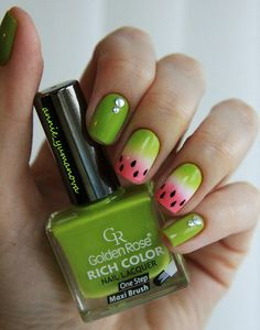 It's summer again soon, and it's the season of watermelon. It's cool and relieving the heat. It is really a must for the family. For a person who loves watermelon, how can manicure lack watermelon! Do you already have some ideas about it on your nails? Nail Art Design Gallery, Best Nail Art Designs, Bright Summer Nails, Bright Nails, Shellac Nails, Nail Polish, How To Do Nails, Fun Nails, Nail Art Inspiration