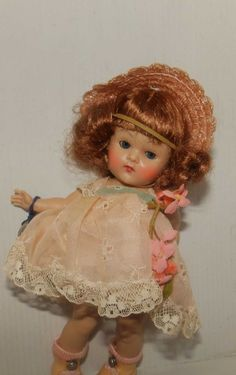 VINTAGE STRUNG  EARLIER  SWEET FACE GINNY DOLL DEBUTANTE PINK TOSCA HAIR TAG