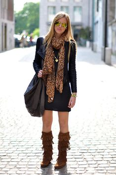 leopard scarf love! Wear over black outfit with brown boots to bring out the color in the scarf. Love the fringe boots too!