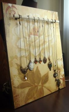 Peacock Tres Chic: DIY Jewelry Display made with wood and dowel rods for necklaces bracelets or rings