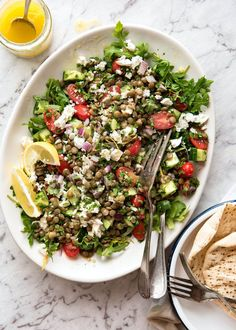 Secret to a great lentil salad - cook lentils in a simple flavoured broth or marinate canned lentils. Sprinkle with feta, drizzle with lemon salad dressing!