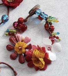 Bracelet~Flower and Beaded Bracelet~Fair trade through Folio Gothic Hippy~BR64