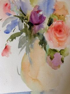 Soft Roses, transparent watercolor, by sandra l. strohschein