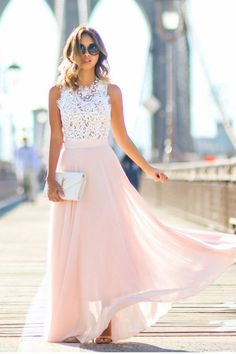 Gorgeous Crew Long Pink Chiffon Prom Dress with White Lace Top PG391