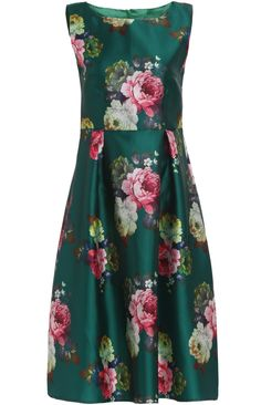Shop Green Sleeveless Peony Print A Line Dress online. SHEIN offers Green  Sleeveless Peony Print A Line Dress   more to fit your fashionable needs. 0347a76f329