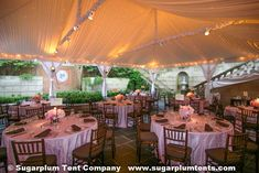 16. PINK AND BROWN: This frame tent with a liner has small bee lighting behind the liner. As it gets darker, the little lights shine trough the taffeta like little stars. This event was at the Dumbarton House in Georgetown.