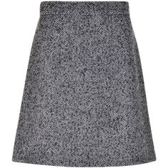 DOLCE AND GABBANA Tweed Mini Skirt (£195) ❤ liked on Polyvore featuring skirts, mini skirts, a-line skirt, chevron mini skirt, chevron print skirt, chevron short skirt and tweed a line skirt