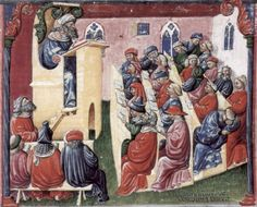 MedievalClassroomFullSz Henry of Germany teaching at the University of Bologna , c. 1350-60  Laurentius of Voltolina (Italy, active in Bologna in the second half of the fourteenth century)  Liber ethicorum of Henricus of Alemannia  painting on parchment, 18 x 22 cm  Kupferstichkabinett SMPK,  Staatliche Museum Preussiischer Kulturbesitz, Min. 1233