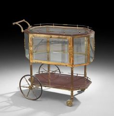 Belle Epoque Gilt-Metal and Glass Serving Trolley : Lot 707