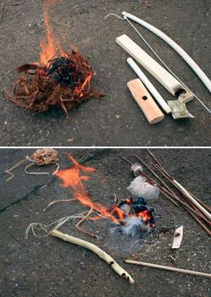 Making and using bow drill to make fire. Even though I stock up on matches & lighters Bushcraft Camping, Camping Survival, Outdoor Survival, Camping Hacks, Bushcraft Skills, Bushcraft Gear, Camping Checklist, Camping Stuff, Wilderness Survival