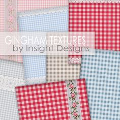 Gingham Textures (with lace and rose ribbon)