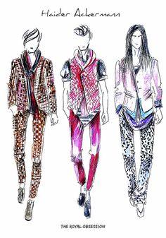 Haider Ackerman  Menswear Spring 2015. Fashion Illustration by Doryanna Popa.