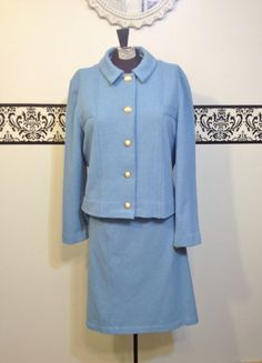 1950's Powder Blue Pin Up Skirt and Jacket Suit by RetrosaurusRex