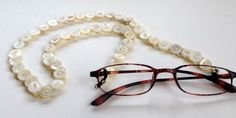 Eyeglasses Chain in Vintage Mother of Pearl Buttons by MRSButtons on Etsy