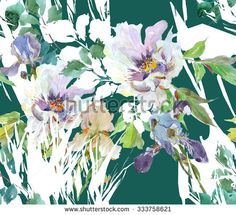 Seamless Floral Pattern Peon, Iris and Grass with White on Jade Green Background - stock photo