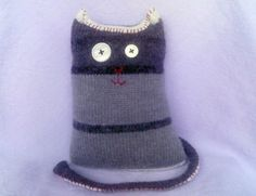 Stuffed Cat with Gray Stripes Upcycled Sweater Kitty by Zuparoo, $24.00
