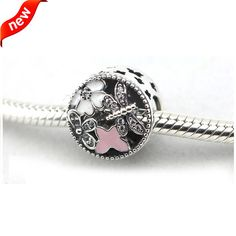 Fits Pandora Jewelry Bracelets 100% 925 Sterling Silver Beads With Clear White And Pink Enamel Original DIY Charm CKK