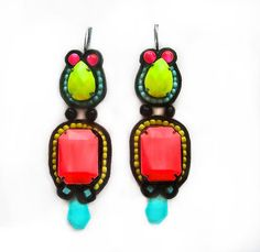 ALIEN soutache earrings in black, neon pink, lime green, turquoise and yellow