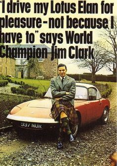 Lotus Elan advertisement. Featuring our very good friend Jim Clark.