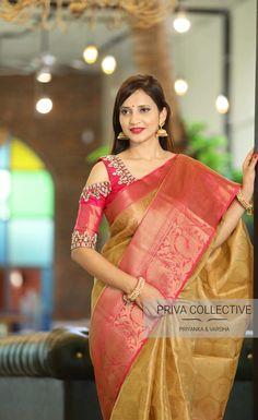 Discover thousands of images about New Exclusive Wedding Saree Collection - Priva Collective Pattu Saree Blouse Designs, Blouse Designs Silk, Sari Blouse, Silk Saree Kanchipuram, Silk Sarees, Indian Sarees, Banaras Sarees, Kerala Saree, Saris
