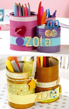 Pencil jars and cans with Wesco Home Crafts, Diy And Crafts, Diy For Kids, Crafts For Kids, Diy Crayons, Pot A Crayon, Recycle Cans, Tin Can Crafts, Kids Study