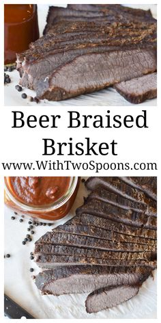 Beer Braised Brisket, a main course offering for our Moveable Feast Epic Dinner Party. www.WithTwoSpoons.com