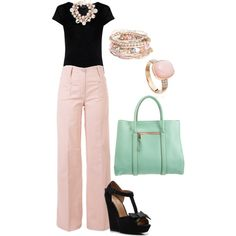 Pretty in Pink...I have to get this look!! I think it's the bag that sets this off!